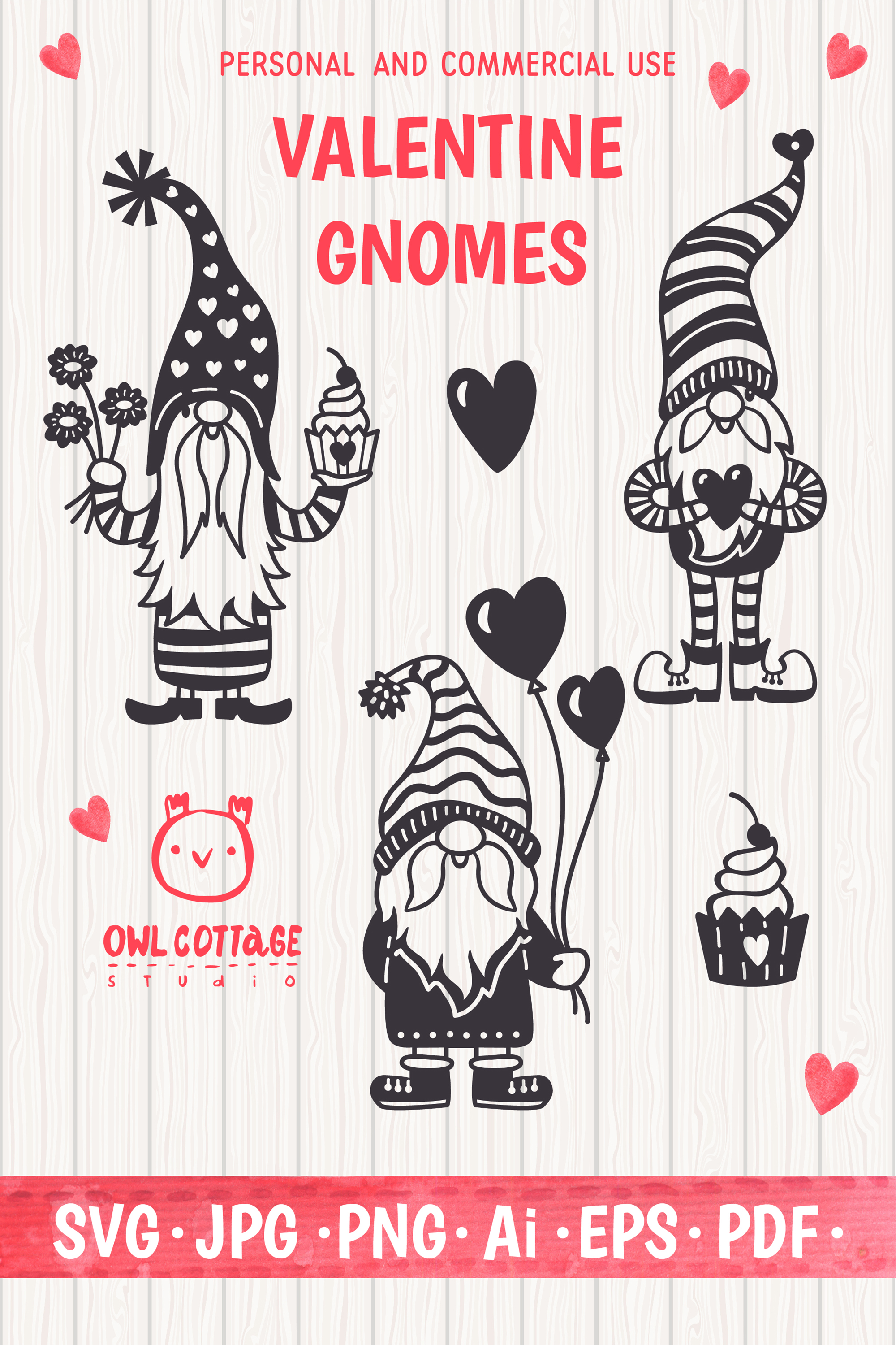 Valentine Gnomes, Gnome Holding Heart Svg, Valentine's Day S example image 12