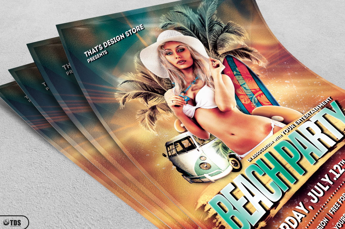 Beach Party Flyer Template V1 example image 3