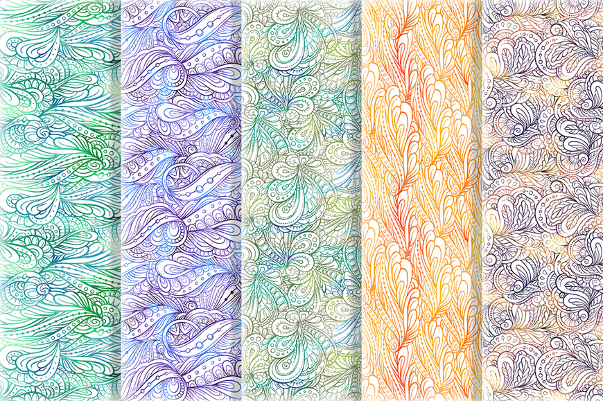 Fancy doodles seamless pattern set 2 example image 4