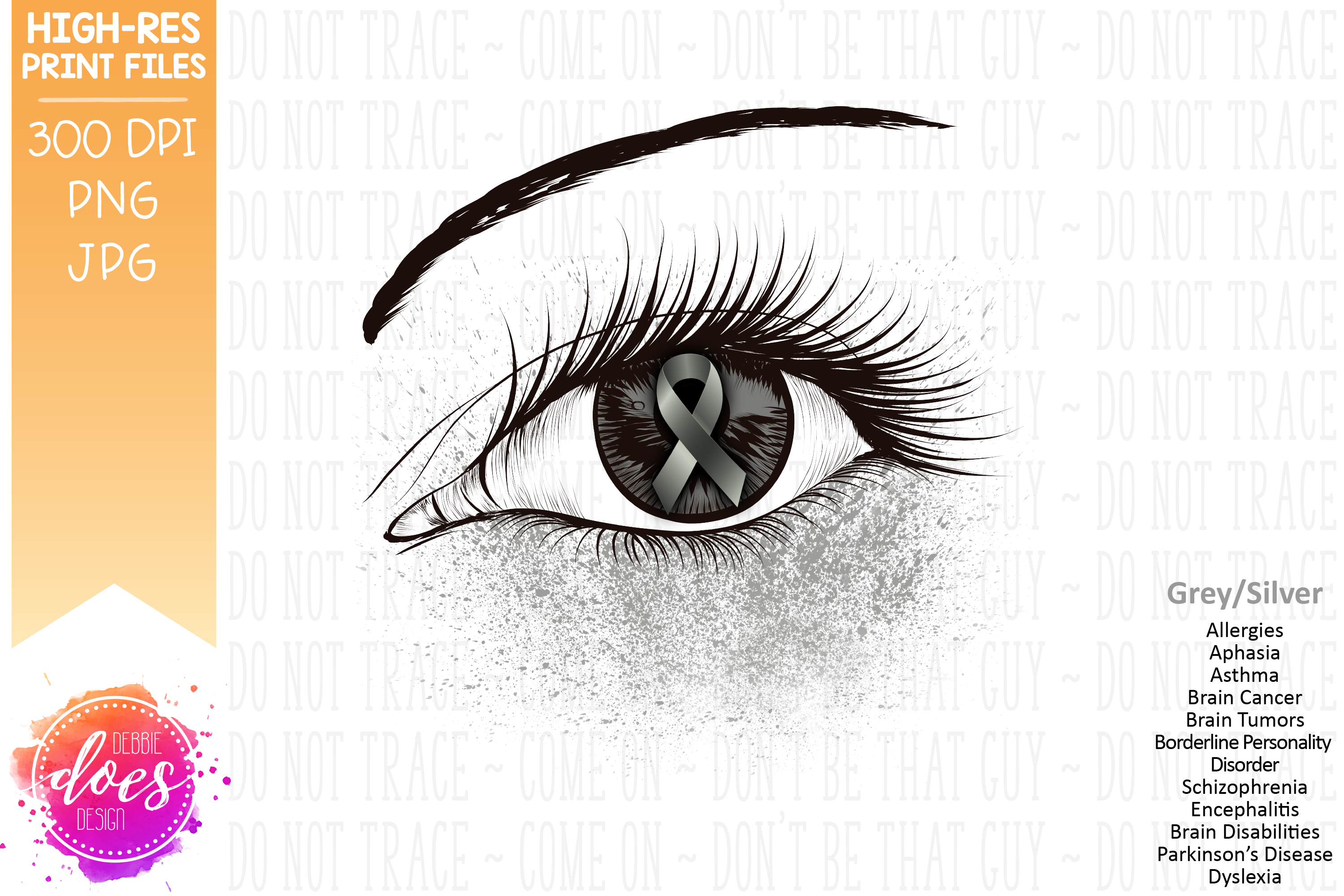 Grey/Gray Awareness Ribbon Eye - Printable Design example image 2