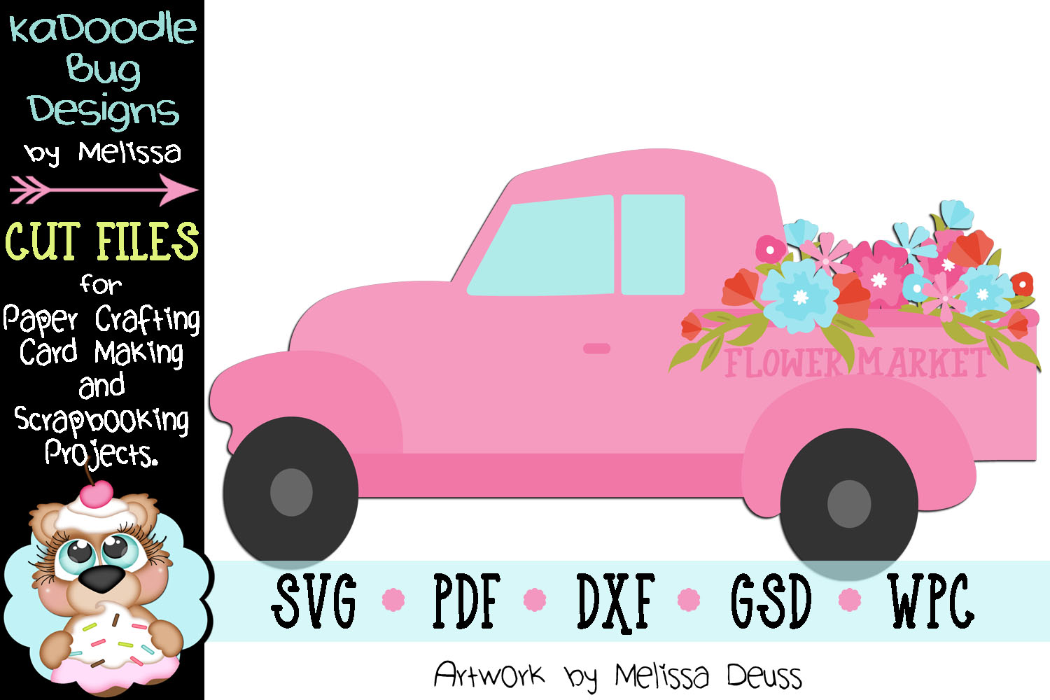 Flower Market Truck Cut File - SVG PDF DXF GSD WPC example image 1