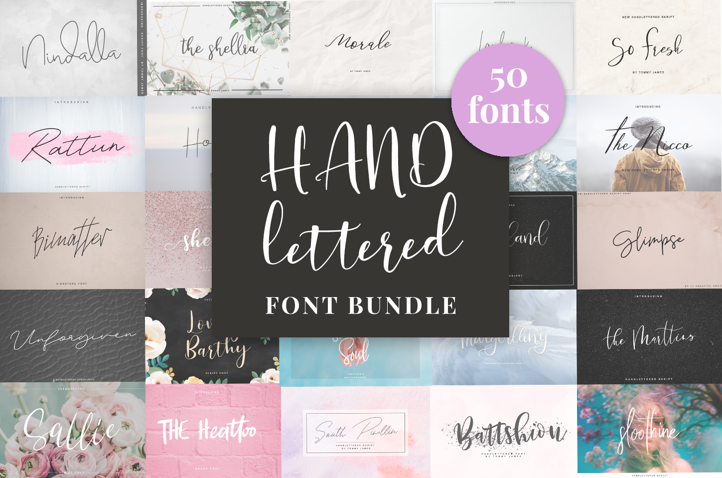 Handlettered Font Bundle 50 in 1. example image 1
