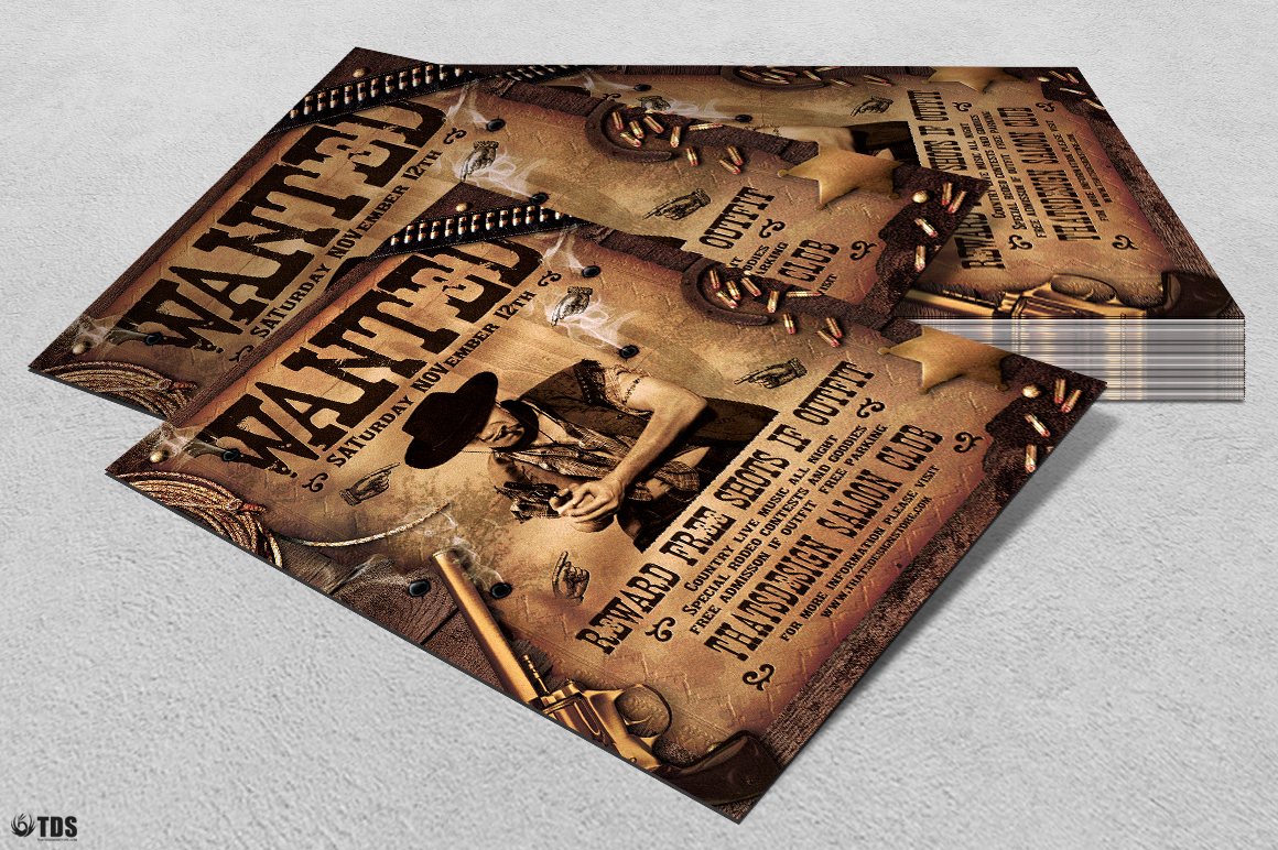 Wanted Western Party Flyer Template example image 6