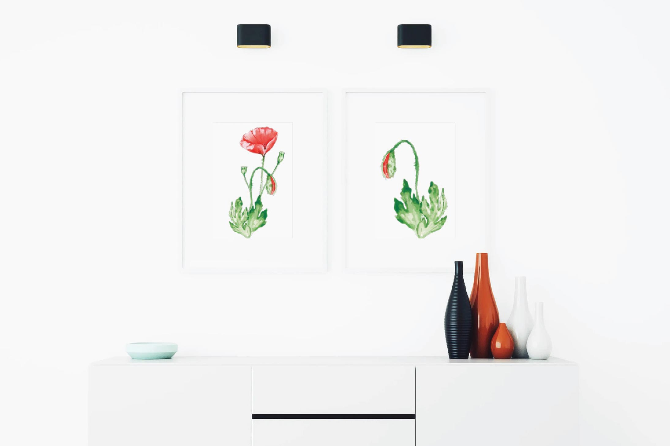 Watercolor red poppy flower and leaf decor clip art. Poppies example image 3