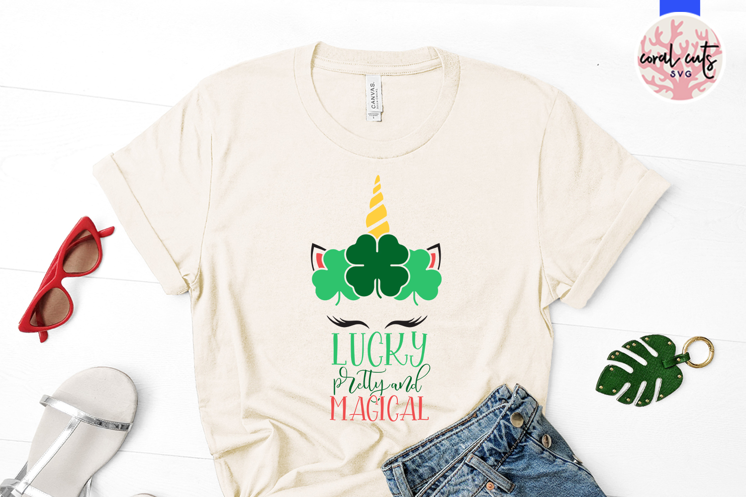 Lucky pretty and magical - St. Patrick's Day SVG EPS DXF PNG example image 2