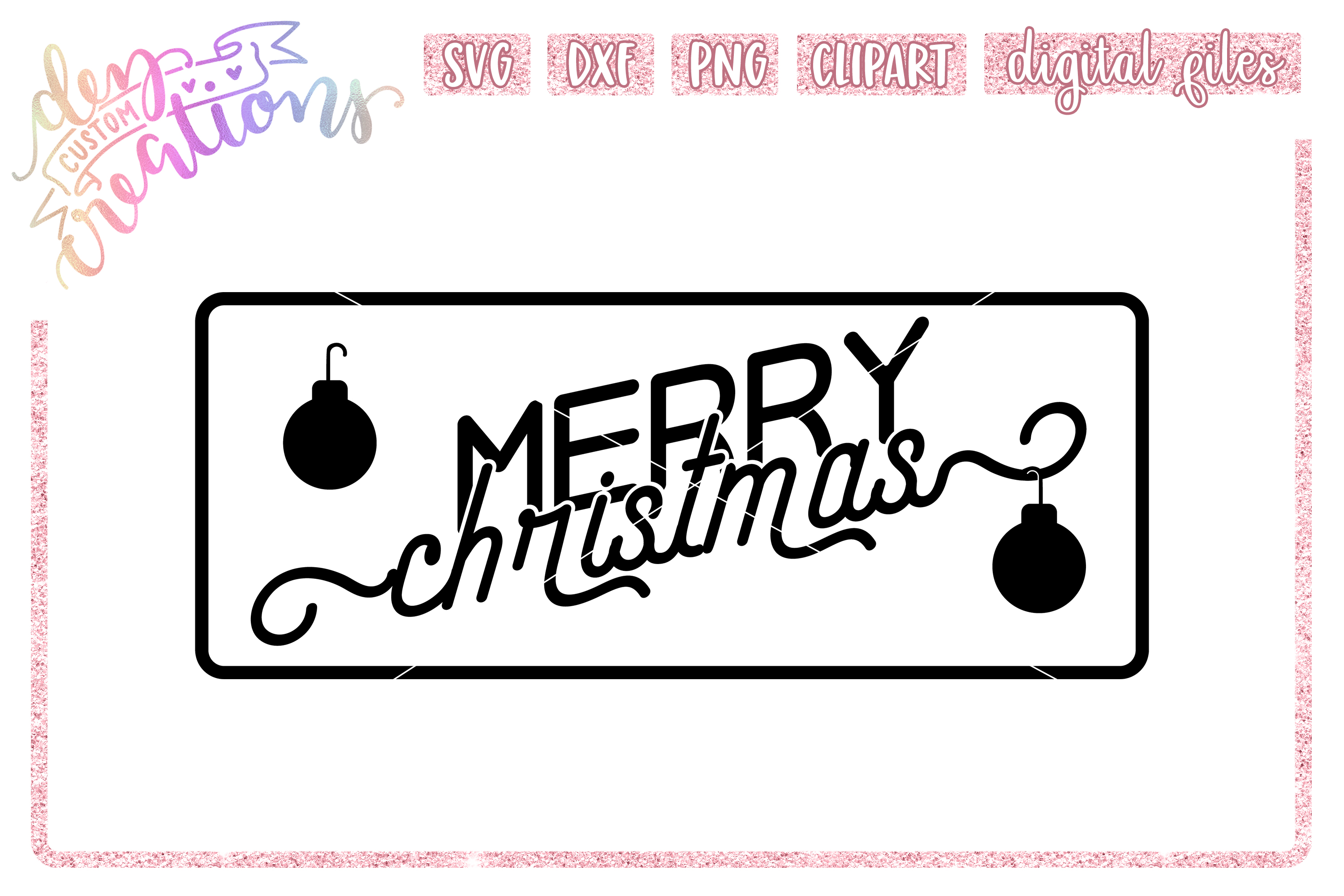 Merry Christmas - SVG DXF PNG Cut Files example image 1