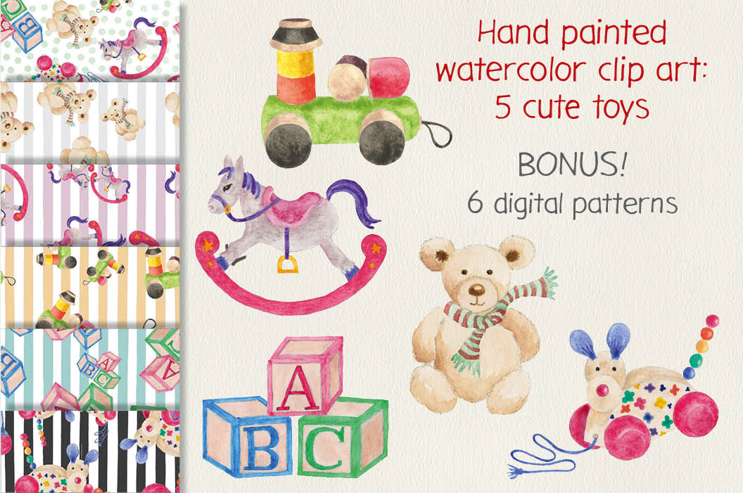 Watercolor clip art: cute toys example image 1
