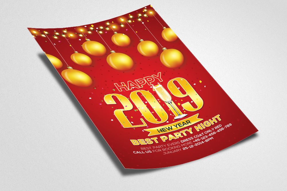 New Year Party Flyer Template example image 2