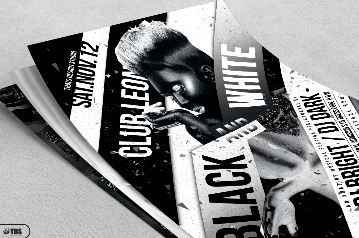 Black and White Party Flyer Bundle example image 4