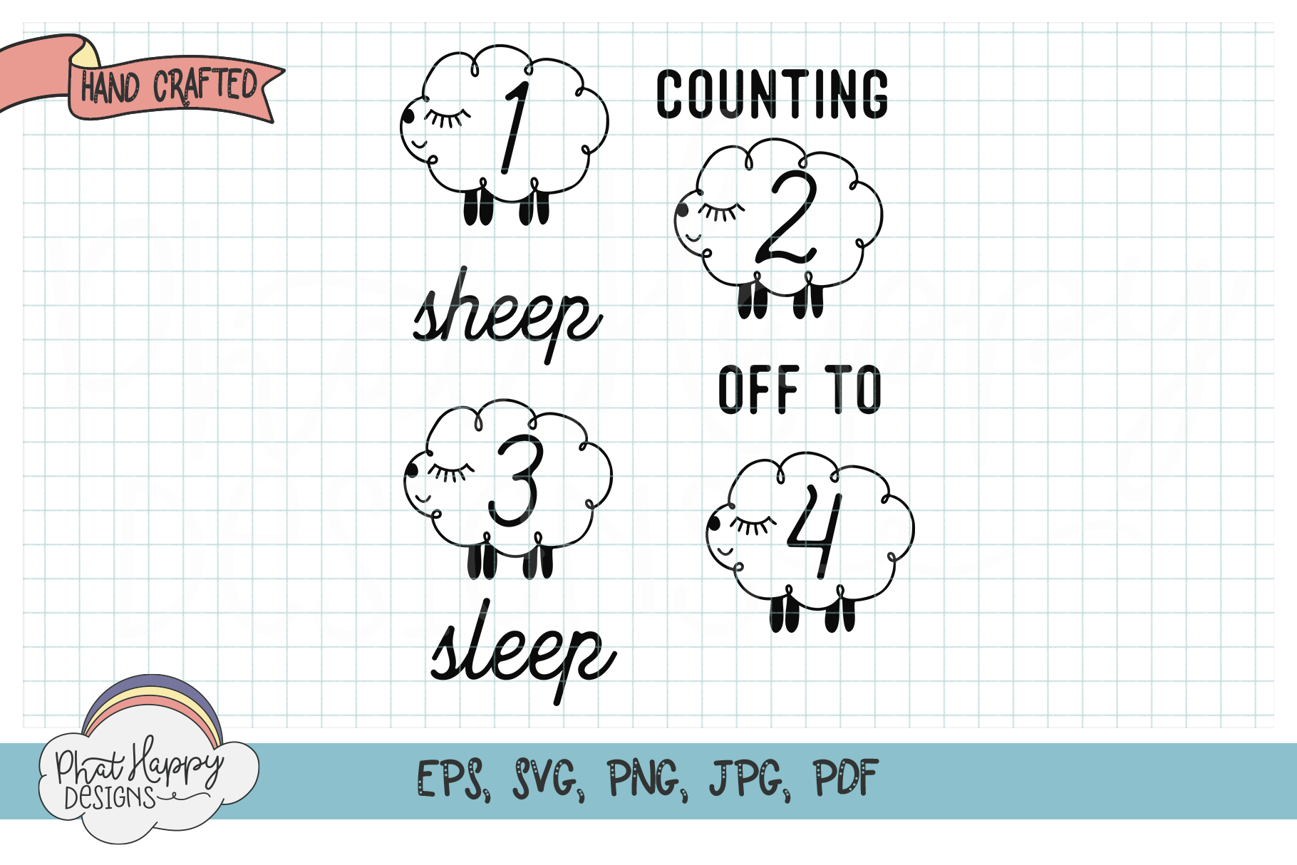 Counting Sheep Nursery Print - SVG Cut File example image 1