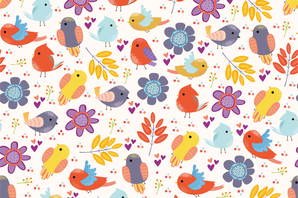 Seamless patterns with birds example image 2