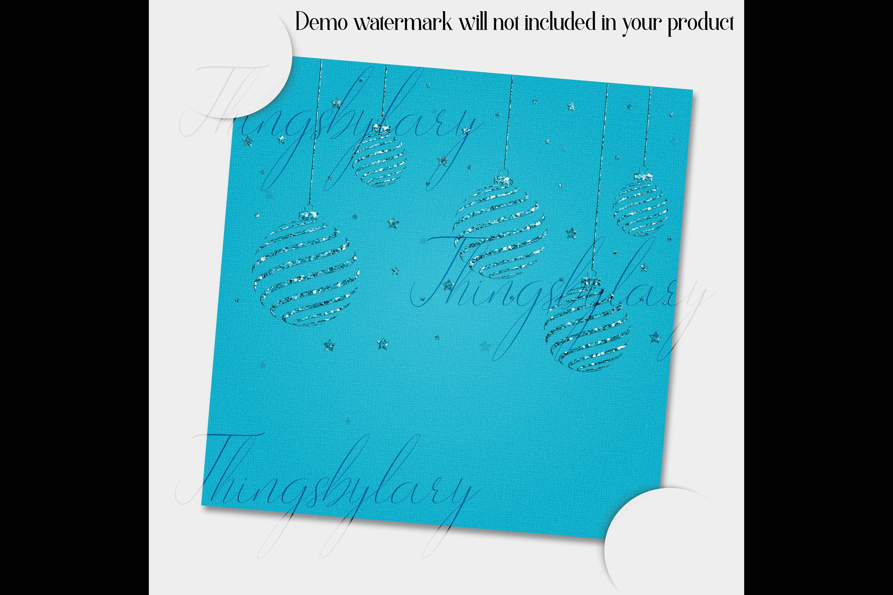 16 Blue Glitter Christmas Printable Digital Papers 12 inch example image 2