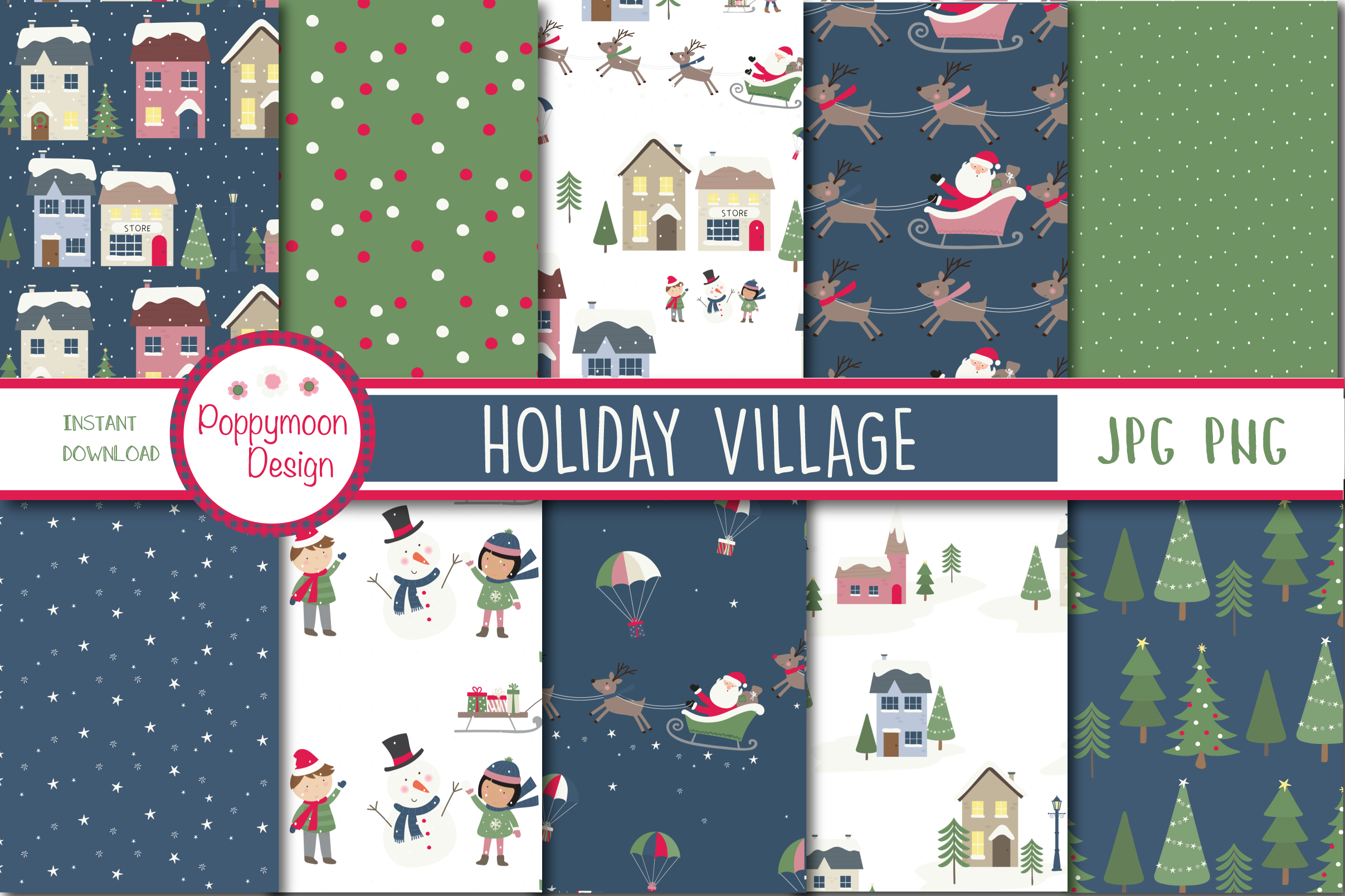 Holiday village clipart and paper example image 4