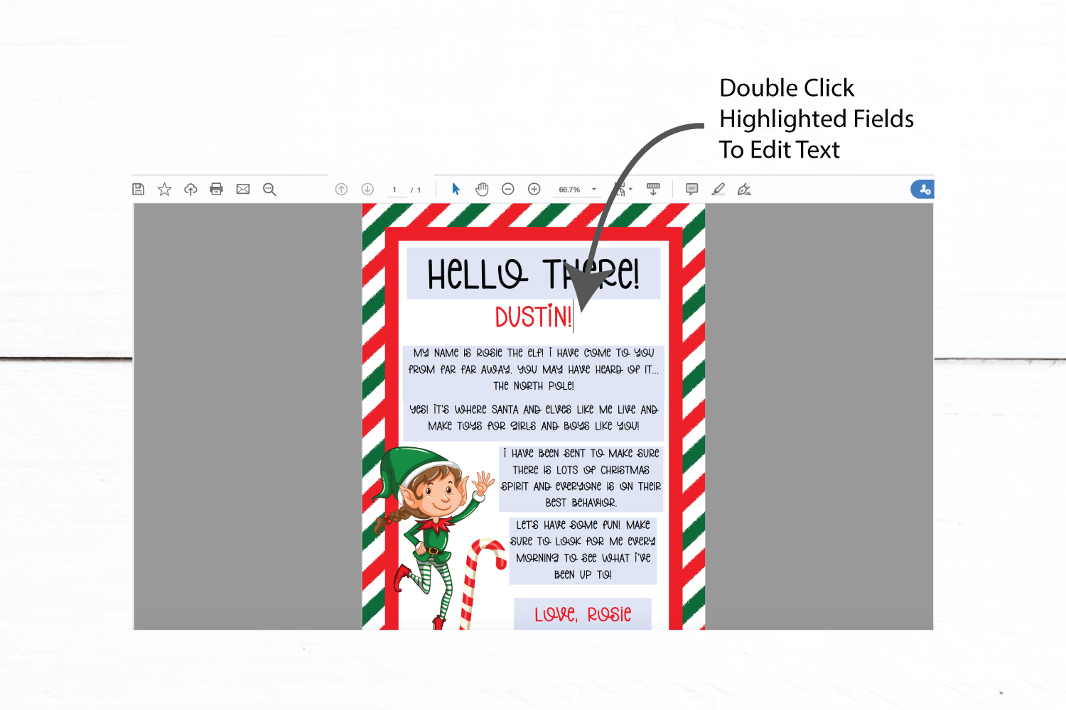 Elf Letter | Editable Christmas PDF Template example image 2
