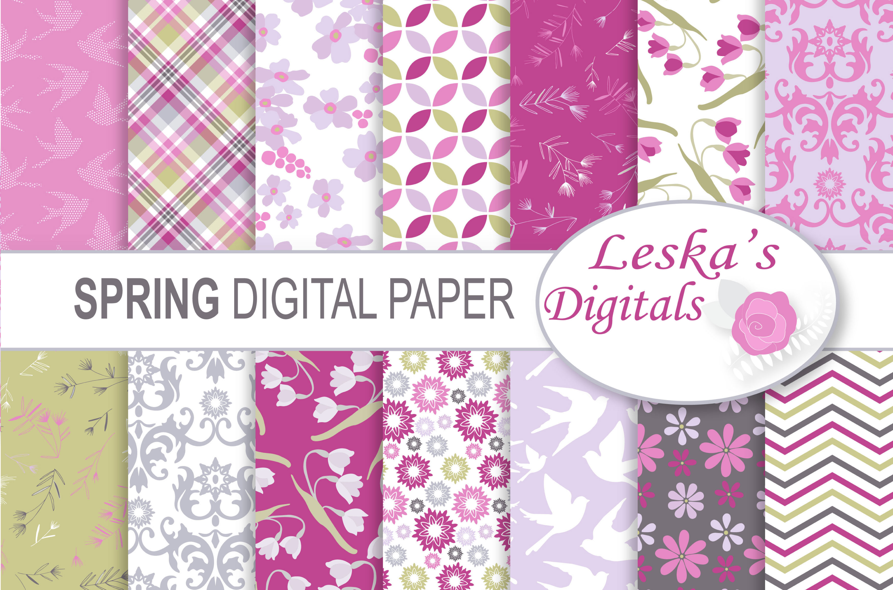 Spring Digital Paper Pack example image 1