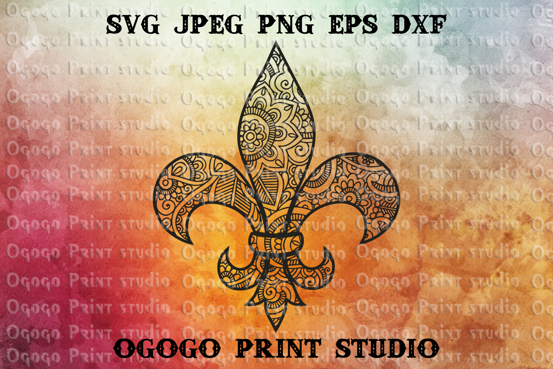 Fleur de lis Svg, Zentangle Svg, Mandala svg, Cricut, Saints example image 1