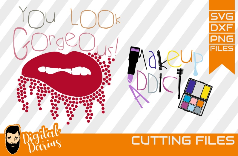 2x You look gorgeous svg, make up svg, Cricut, vector, Lips example image 1