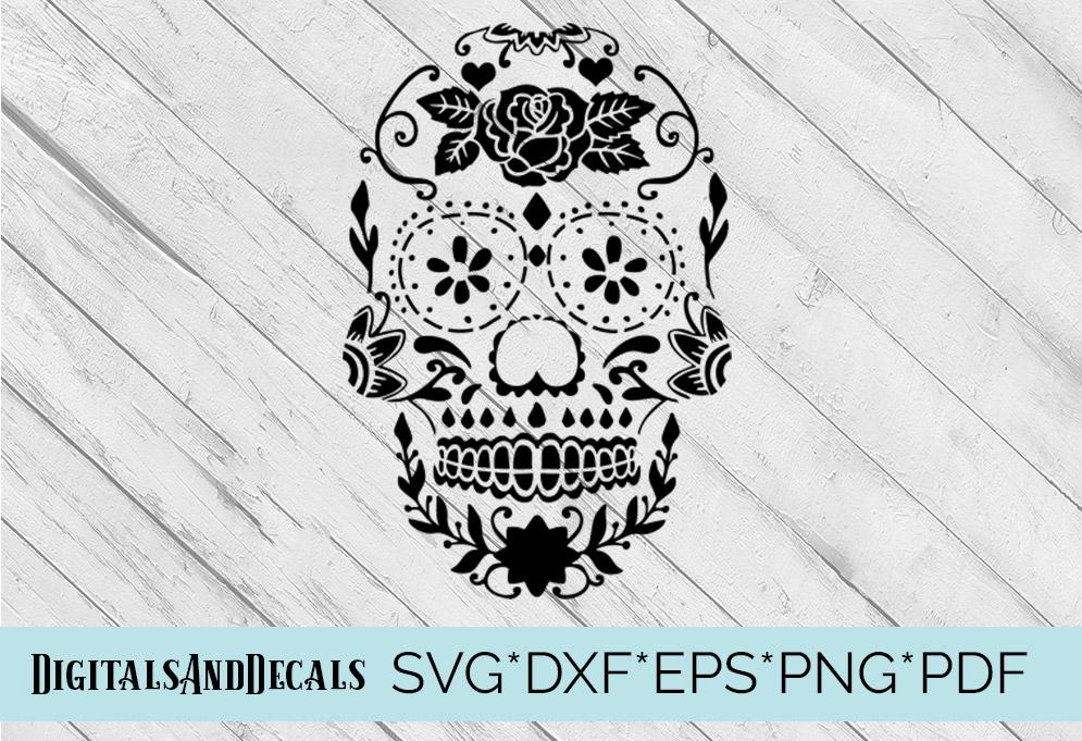 Sugar Skull Stencil SVG Cutting File example image 3