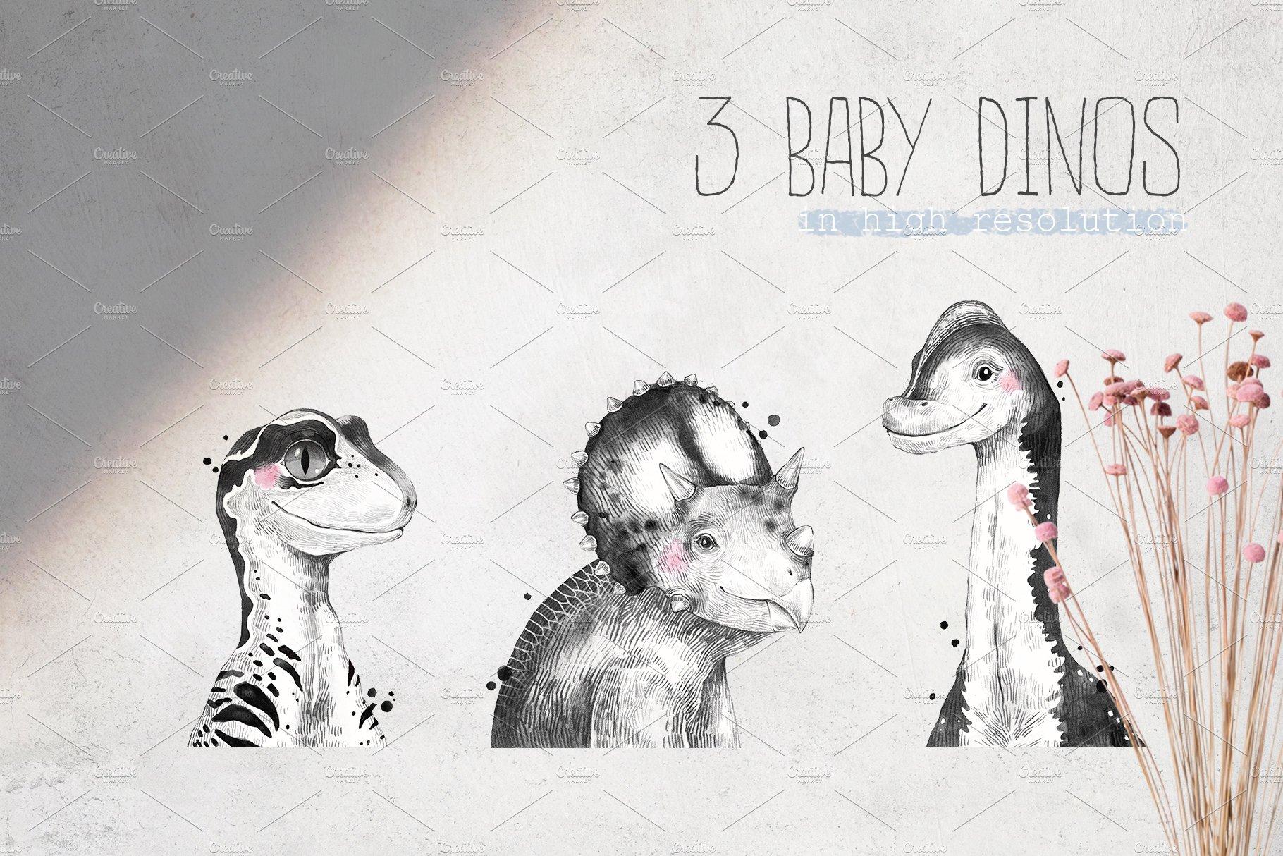 BABY DINOS watercolor set example image 3