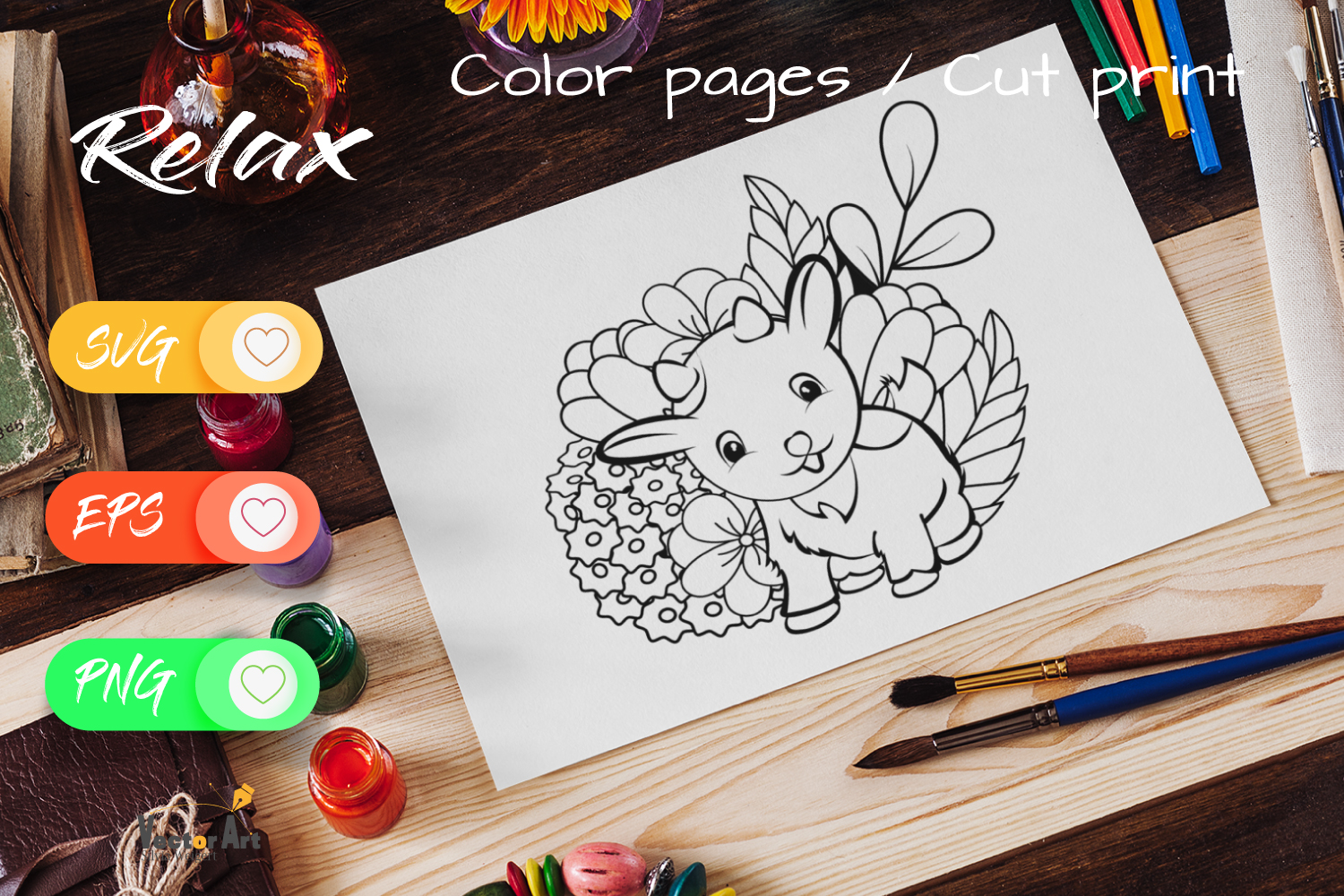 Litte Goat - Cut File and Coloring Page example image 4