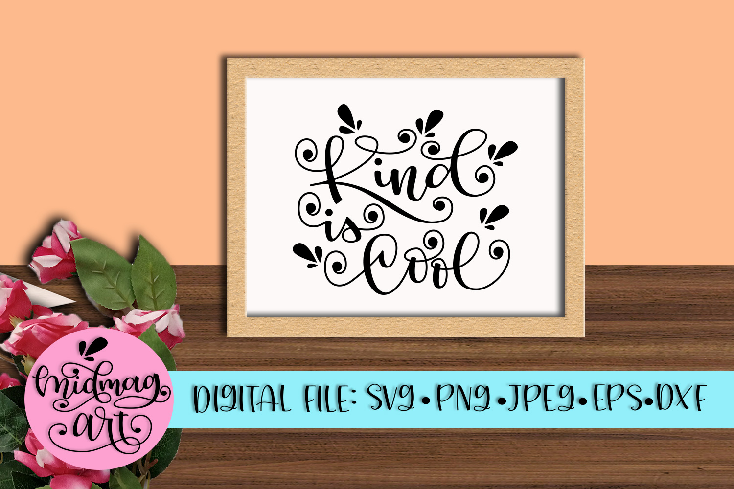 Kind is cool svg, png, jpeg, eps and dxf example image 3