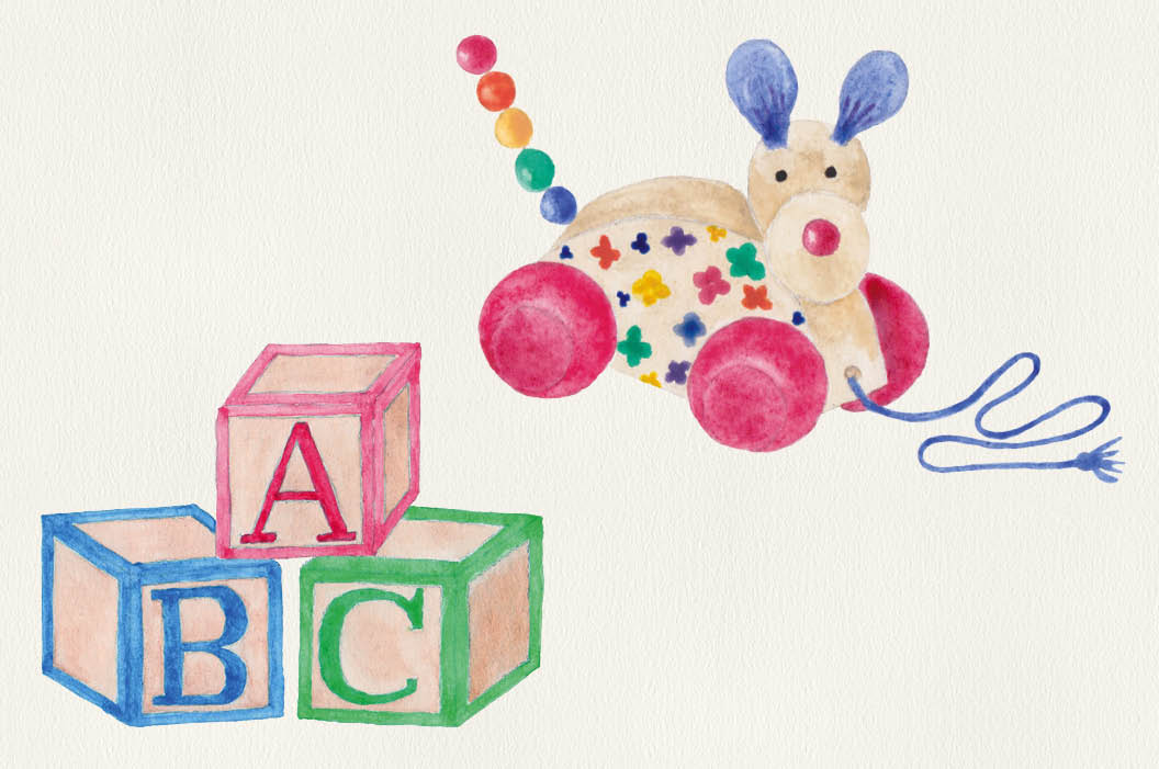 Watercolor clip art: cute toys example image 3