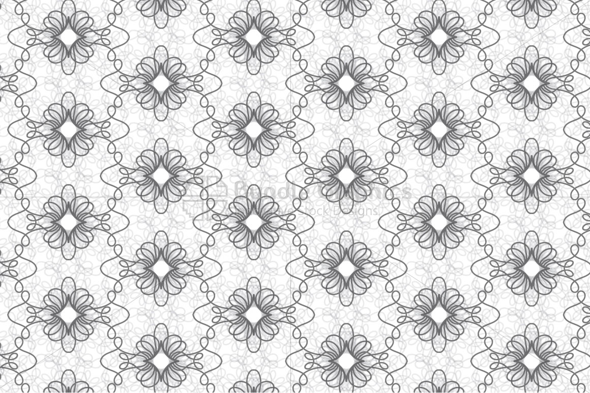 Linear Decorative Flowers - Seamless Background example image 2