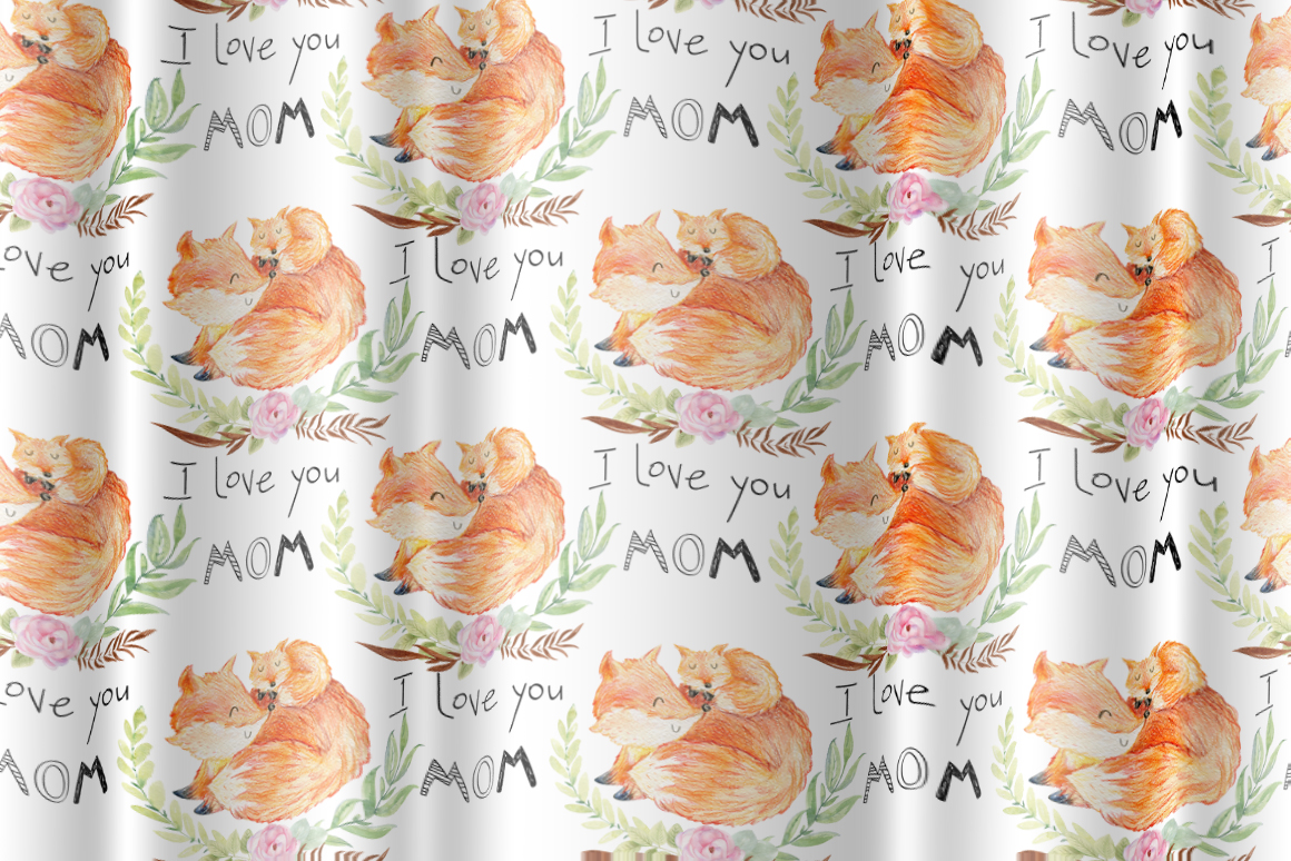 Mom and Baby. Watercolor seamless patterns. example image 7
