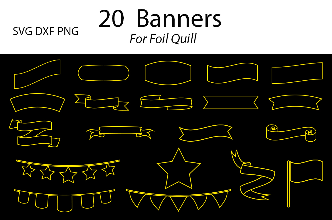 20 Banners For Foil Quill-SVG DXF PNG example image 1