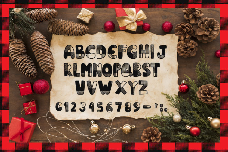 Christmas buffalo plaid font with doodles elements example image 3