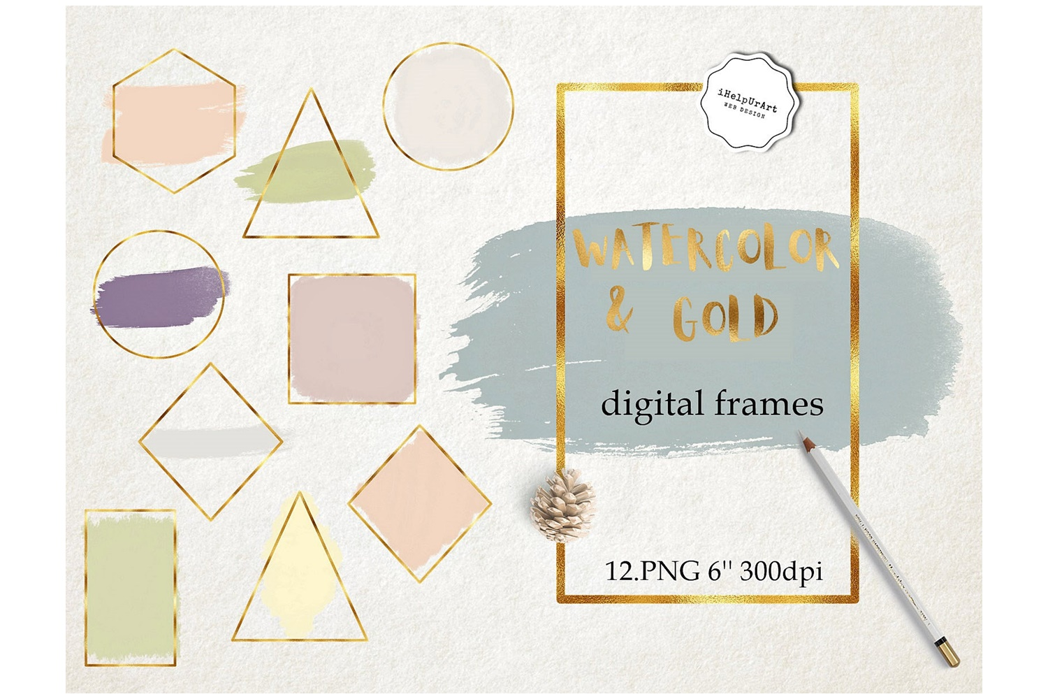 Geometric Frames - Gold Foil and Watercolor Strokes example image 1
