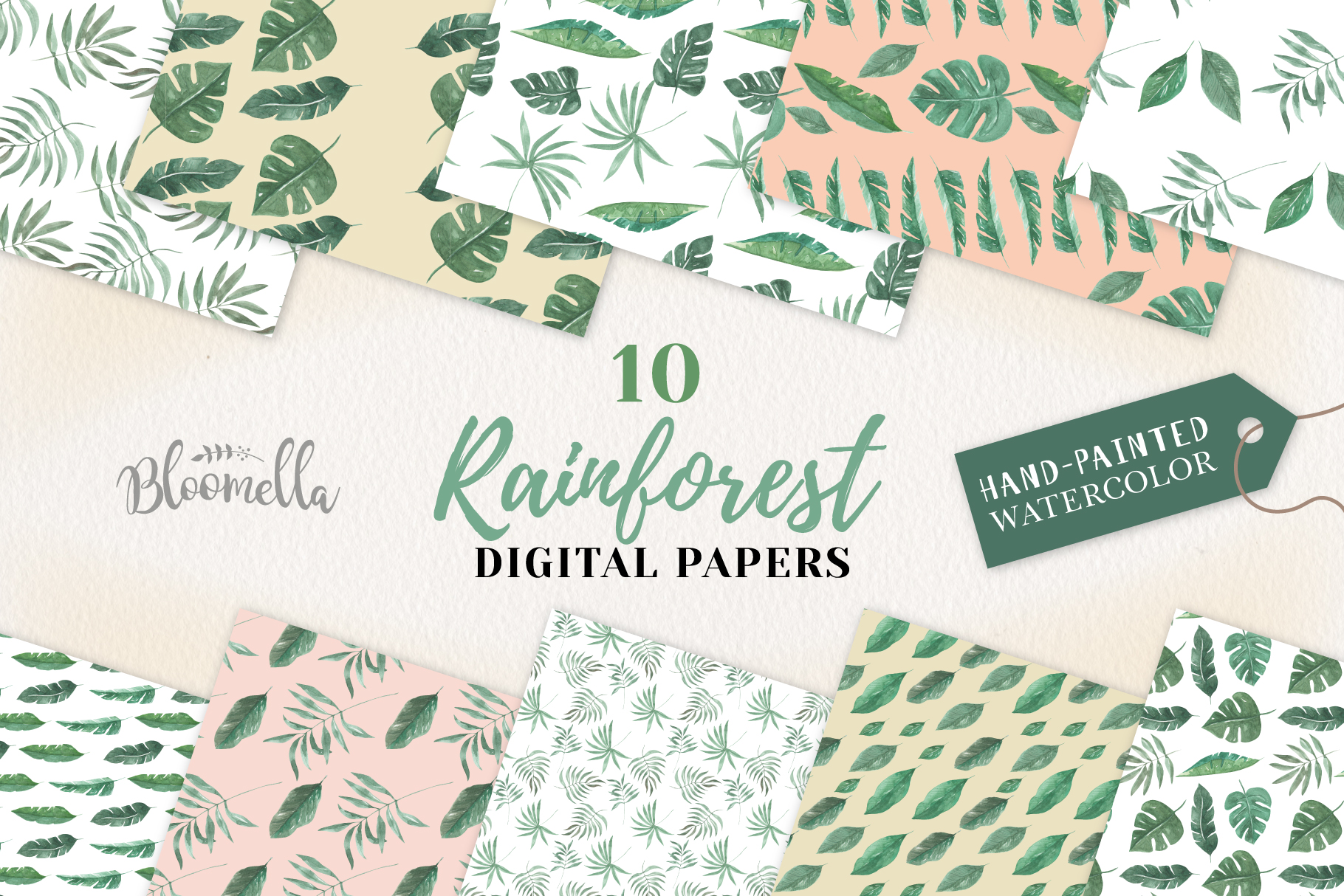 Rainforest Seamless Patterns Digital Papers Tropical Leaves example image 1