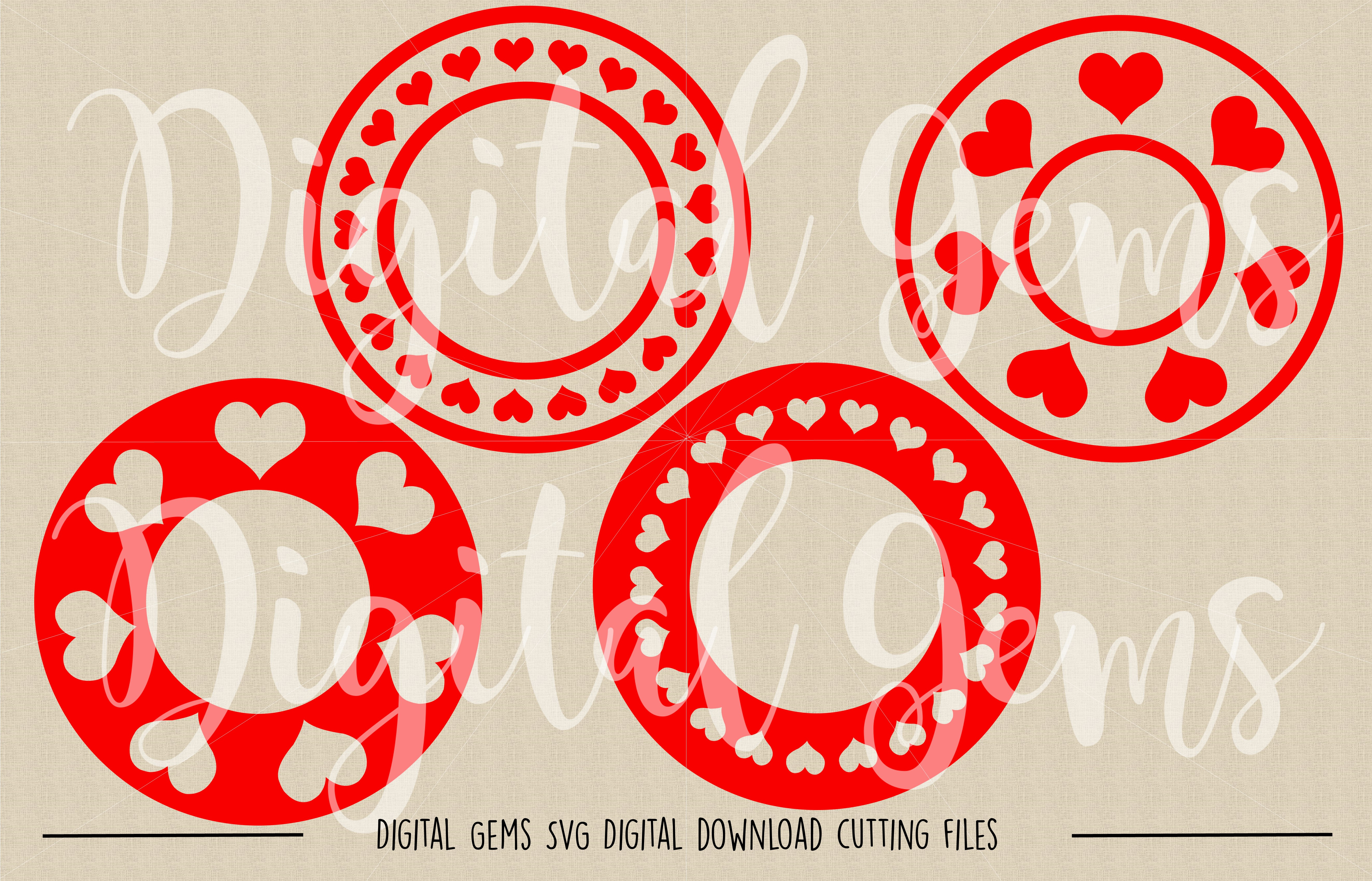 Heart Circle Frames SVG / DXF / EPS / PNG files example image 2