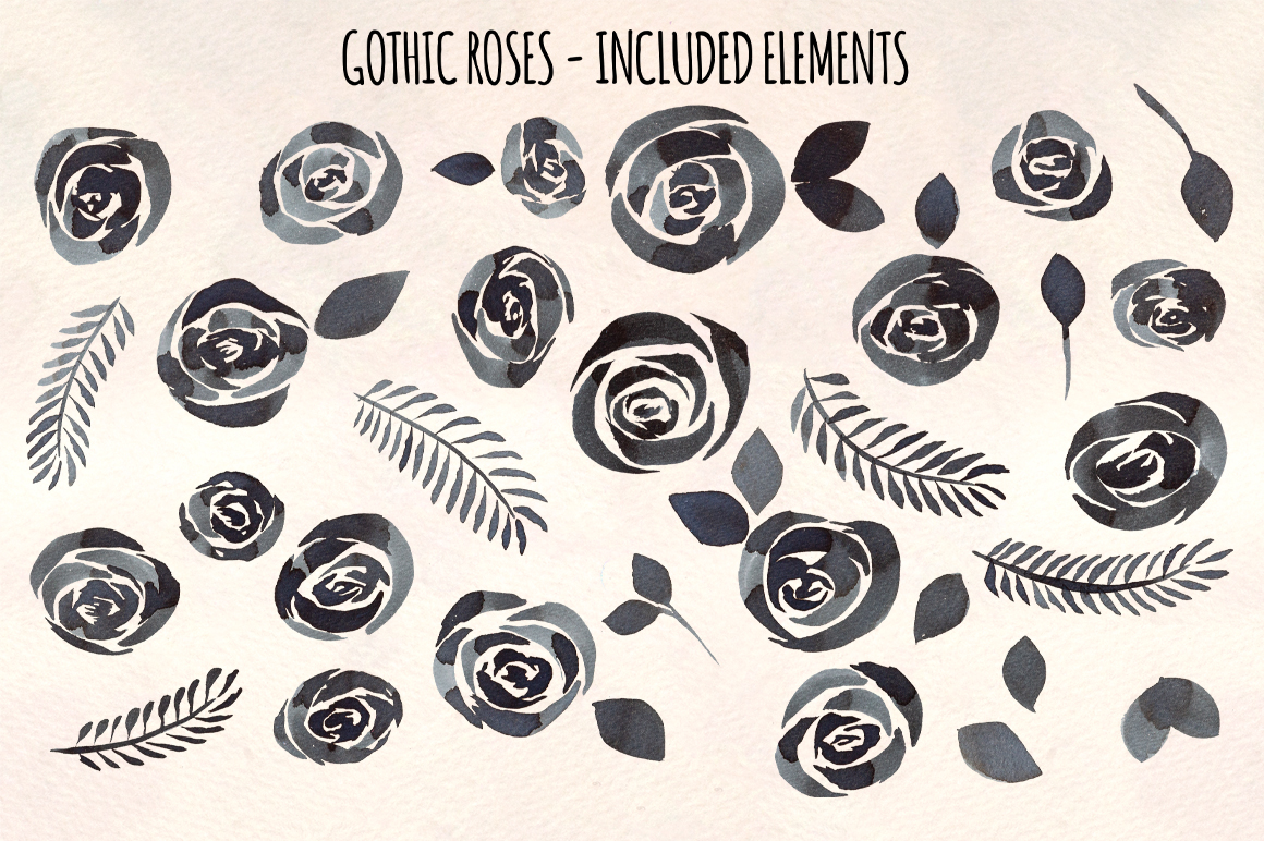 Black Gothic Roses 36 Watercolor Clipart Paintings example image 2