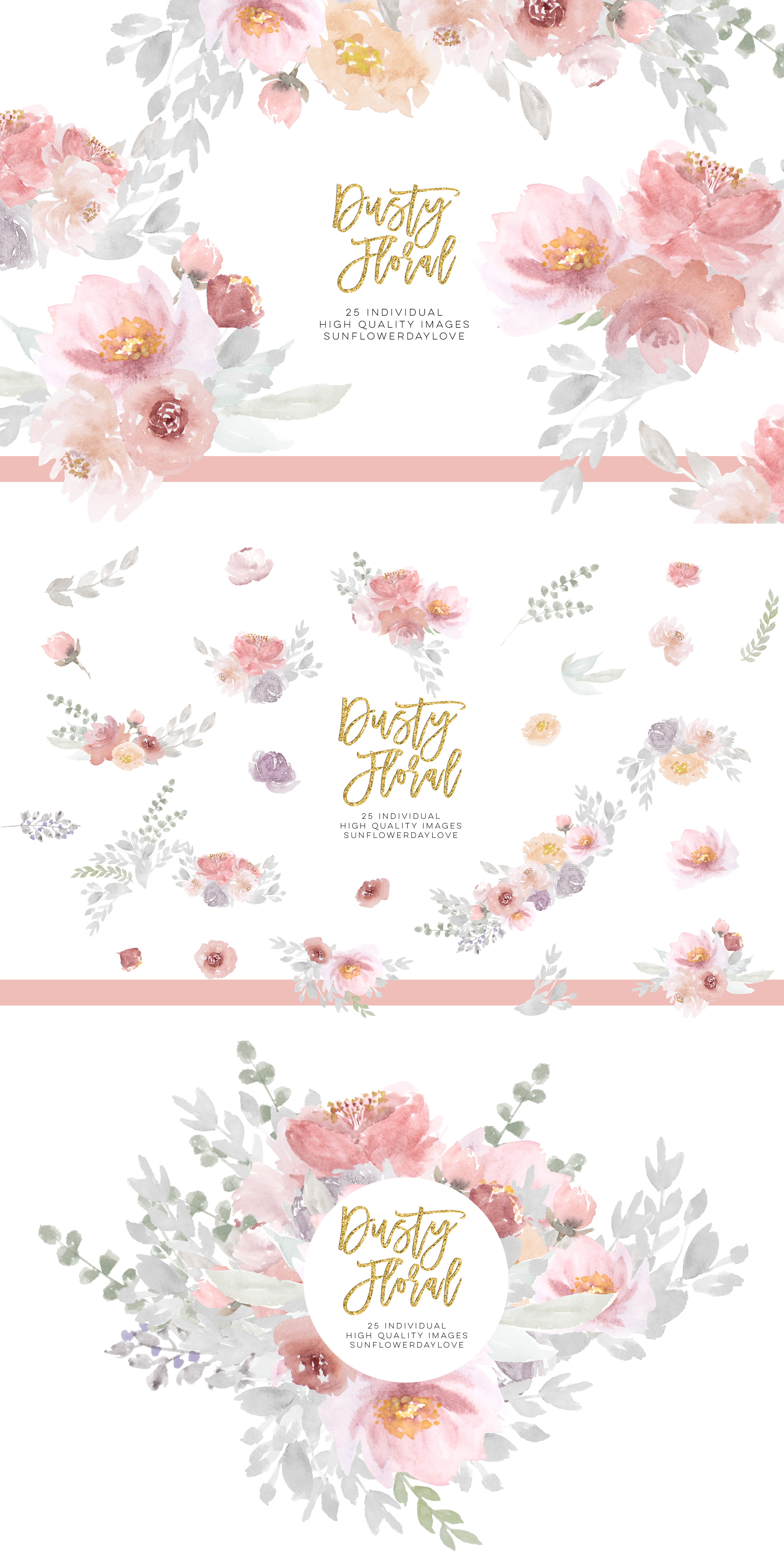 Dusty rose floral clipart, Wedding Invitation Clip Art example image 5