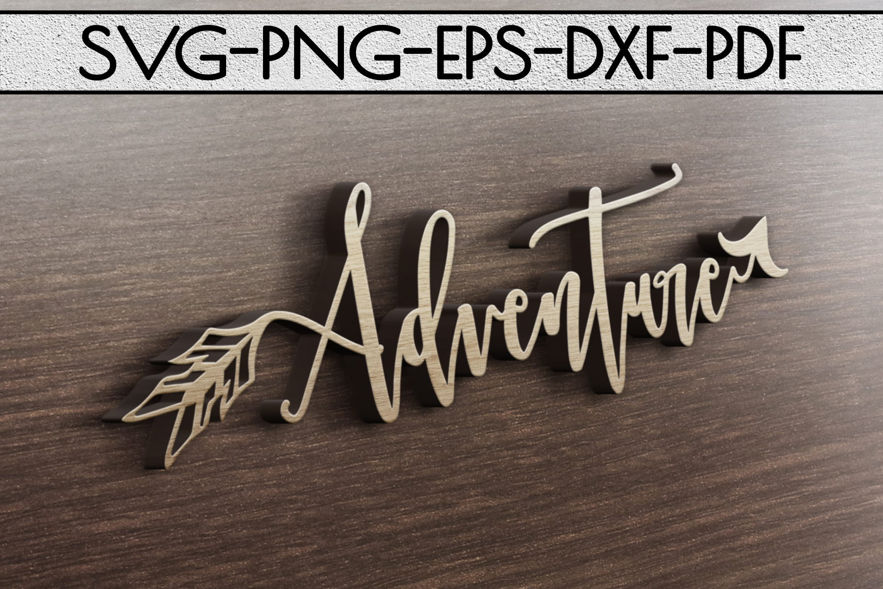 Adventure Sign Papercut Template, Summer Camper SVG, PDF DXF example image 3