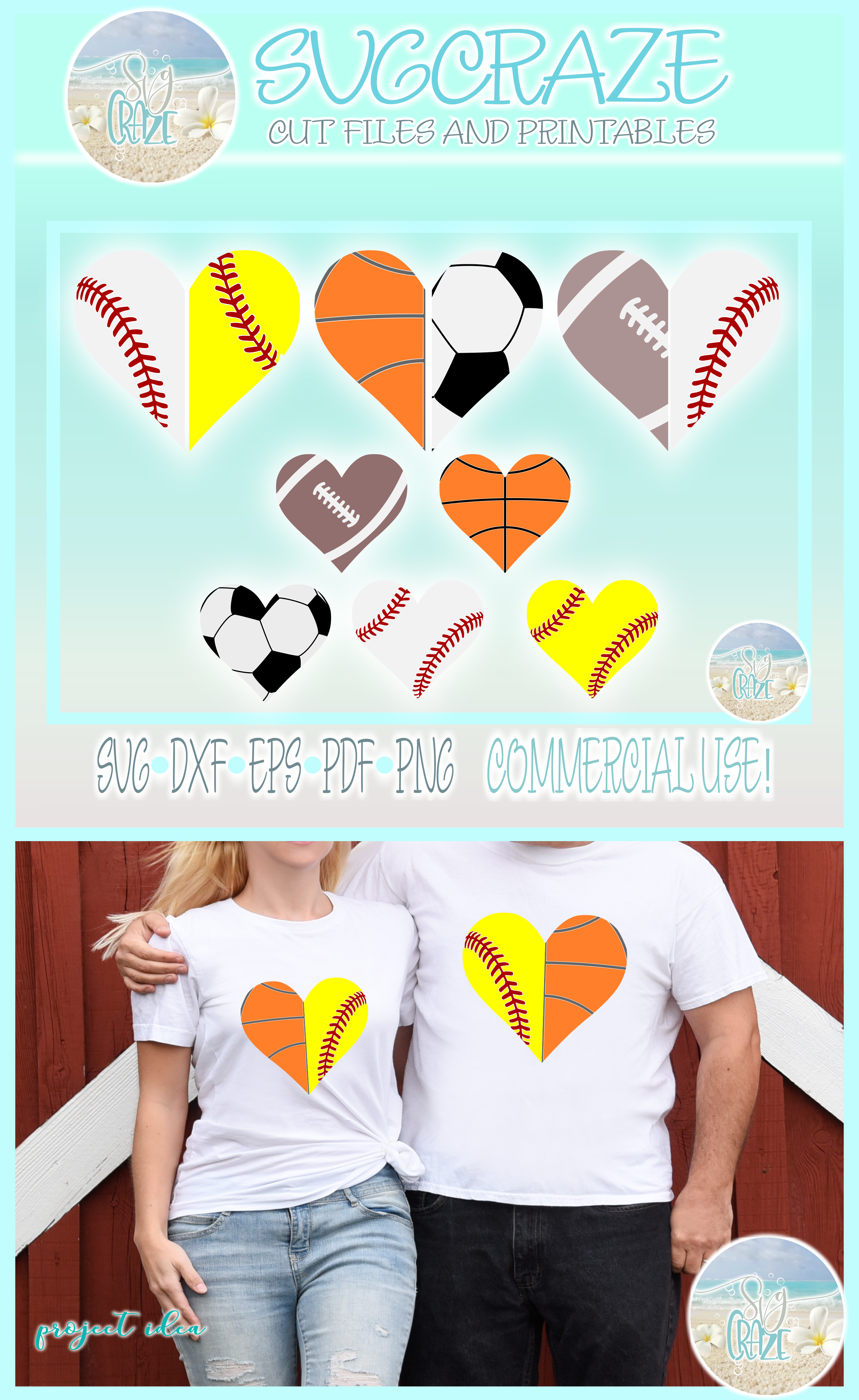 Proud Sports Mom Dad Half Heart Bundle SVG Dxf Eps Png PDF example image 4