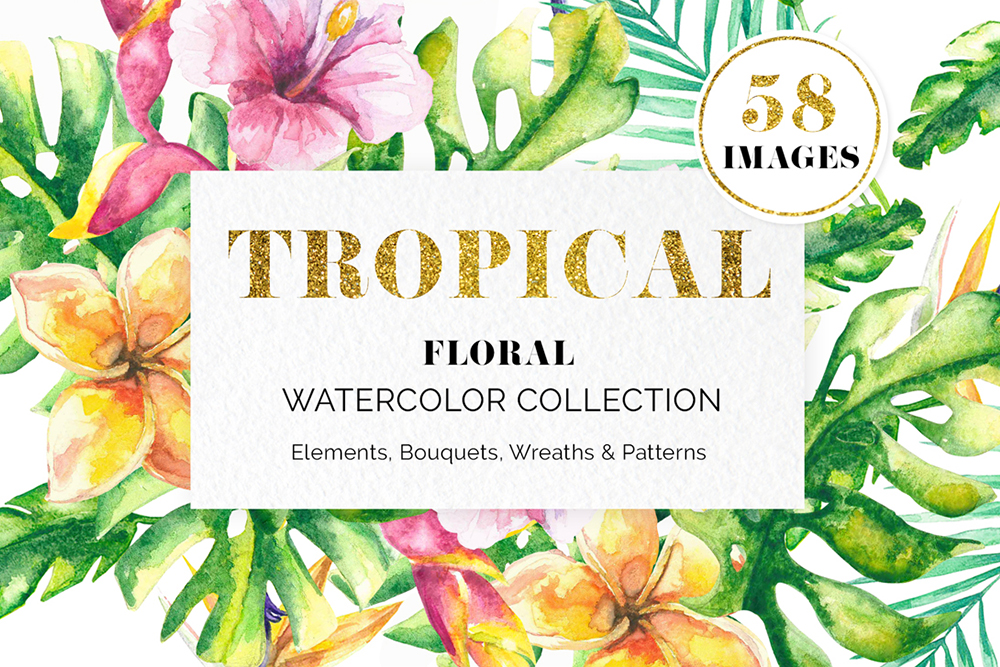 Tropical Floral Watercolor Collection example image 1