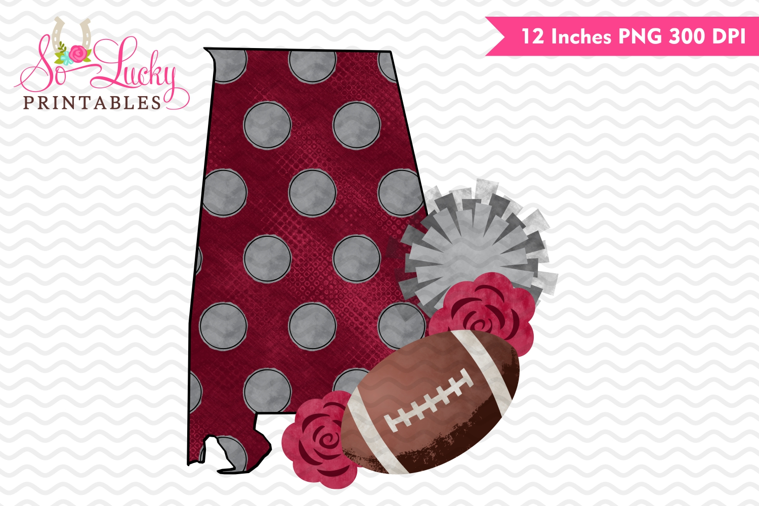 Alabama football with flowers watercolor printable sublimati example image 1