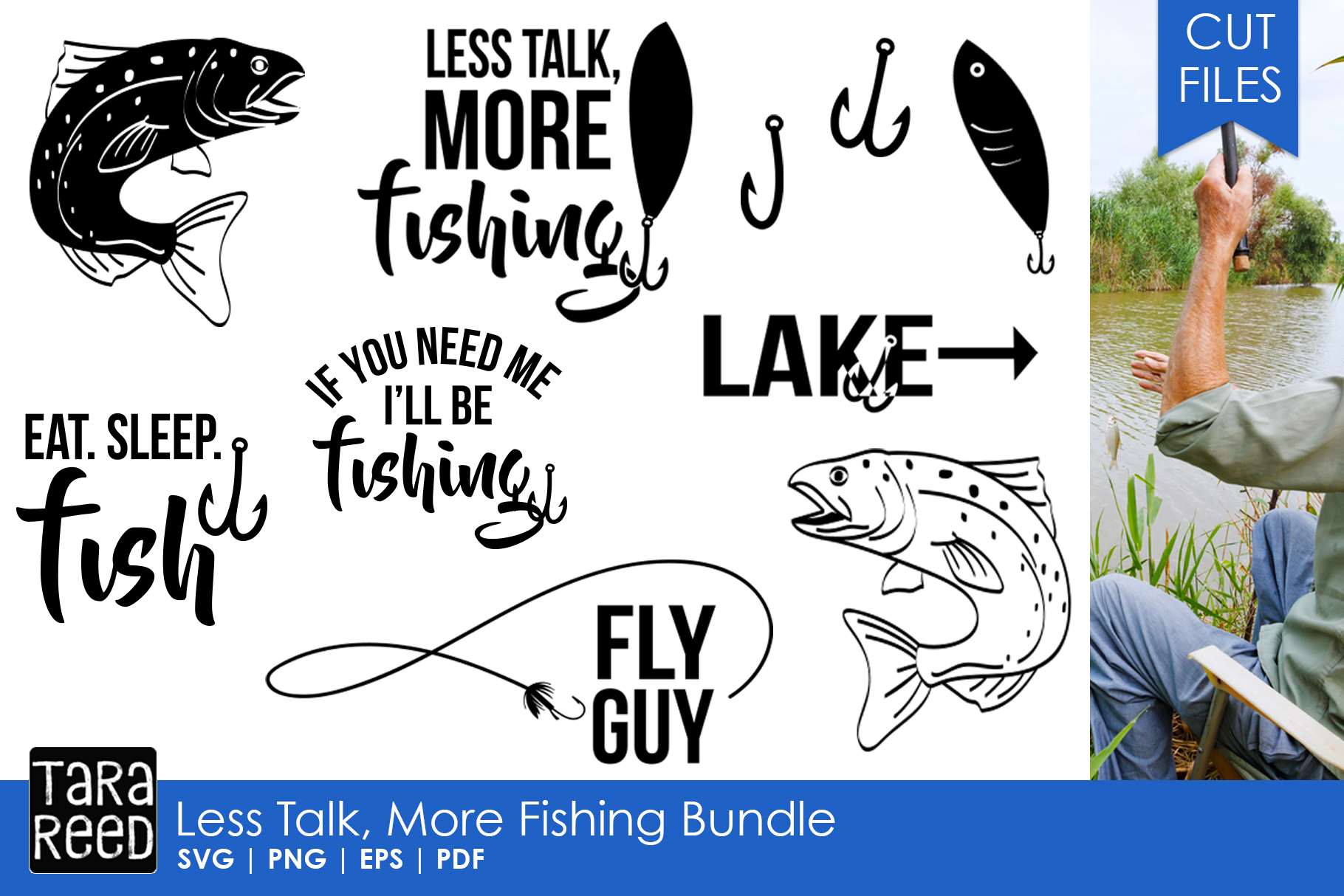 Less Talk More Fishing - SVG and Cut Files for Crafters example image 1
