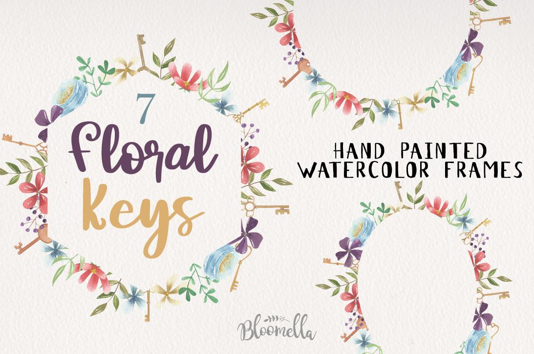 Floral Keys 7 Frames Flowers Watercolor Vintage Berries Key example image 1