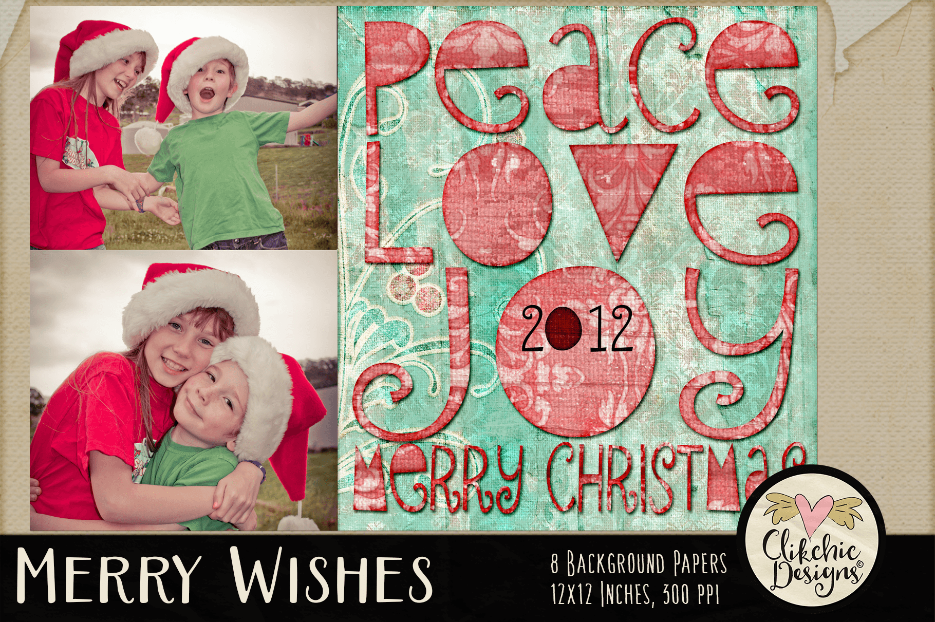 Christmas Backgrounds - Merry Wishes Digital Papers Textures example image 7