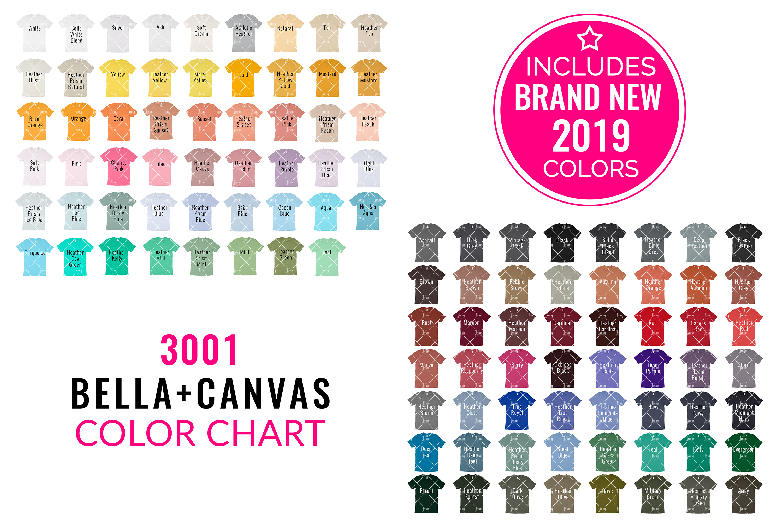 Bella Canvas 3001 Mockup Color Chart example image 1