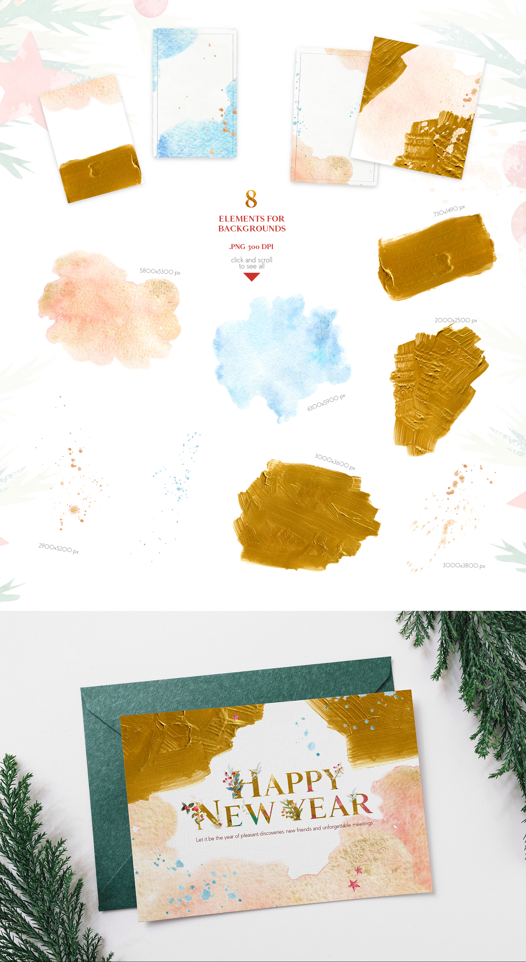 Merry Christmas Watercolor Design Set example image 10
