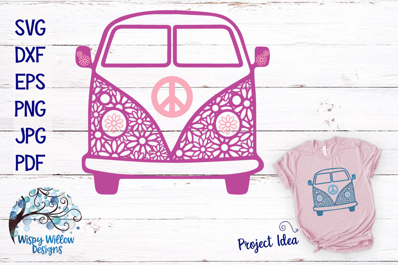 Hippie Van Daisy Zentangle SVG example image 1