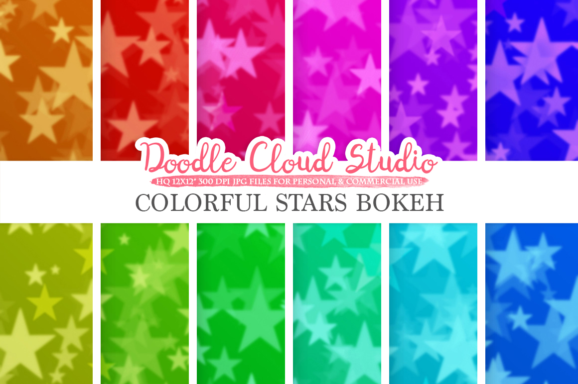 Colorful Stars Bokeh digital paper, Colorful Bokeh Overlay, Rainbow Star Bokeh backgrounds, Instant Download, for Personal & Commercial Use example image 1