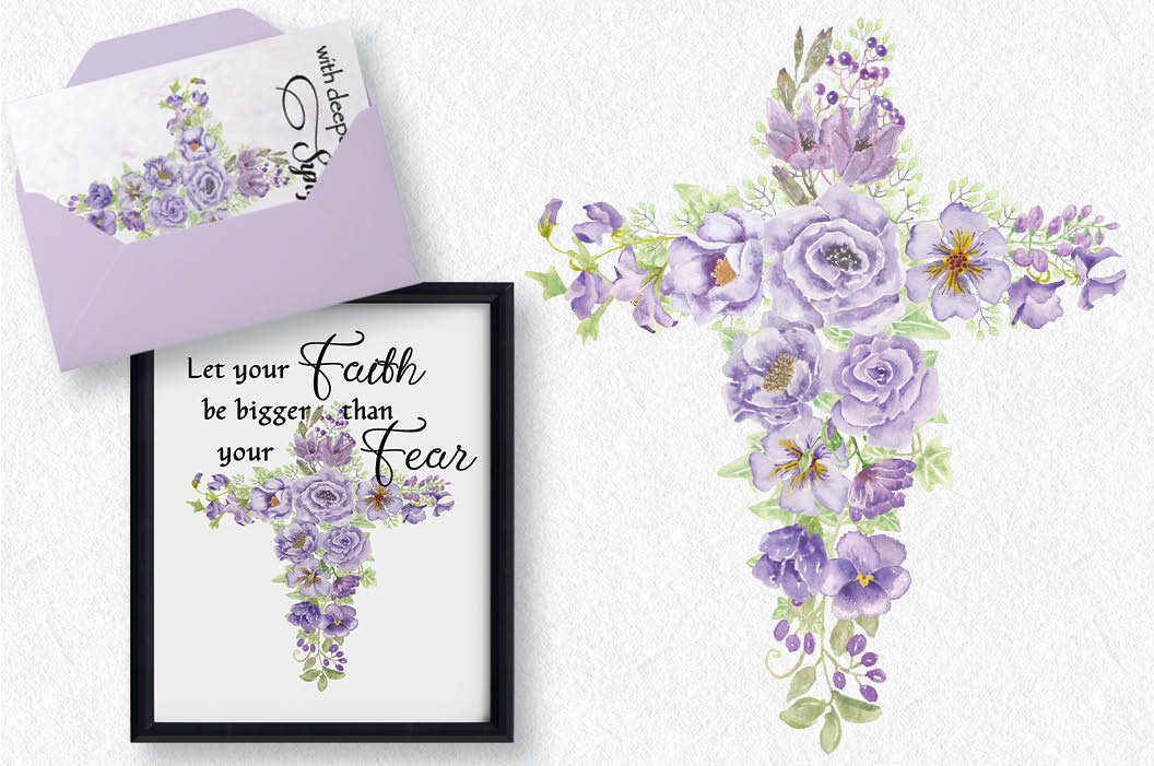 Floral cross in lavender watercolors example image 2