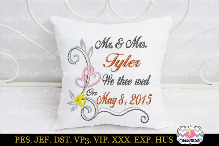 3 sizes Wedding Announcement Embroidery Design Template example image 1