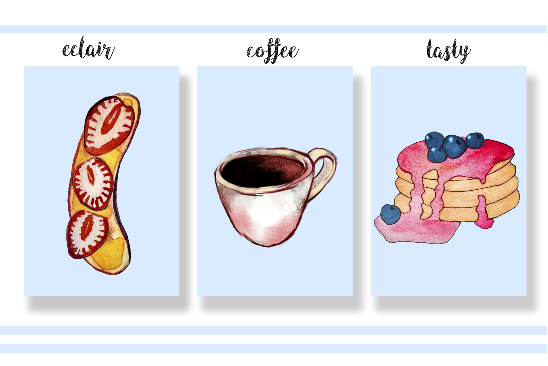 Colorful watercolor illustration. Patterns and elements example image 3