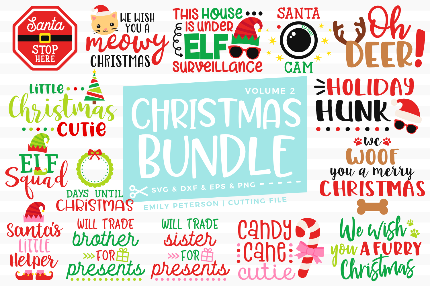 Christmas Bundle 15 Designs Volume 2 SVG DXF EPS PNG example image 1